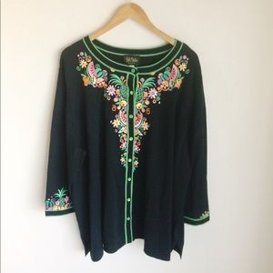Bob Mackie Black Embroidered Cardigan Sweater Sz3X